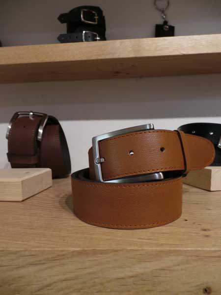ceinture cuir marron boucle personnalisée