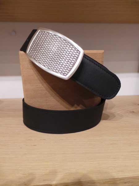 ceinture cuir noir boucle metal argent