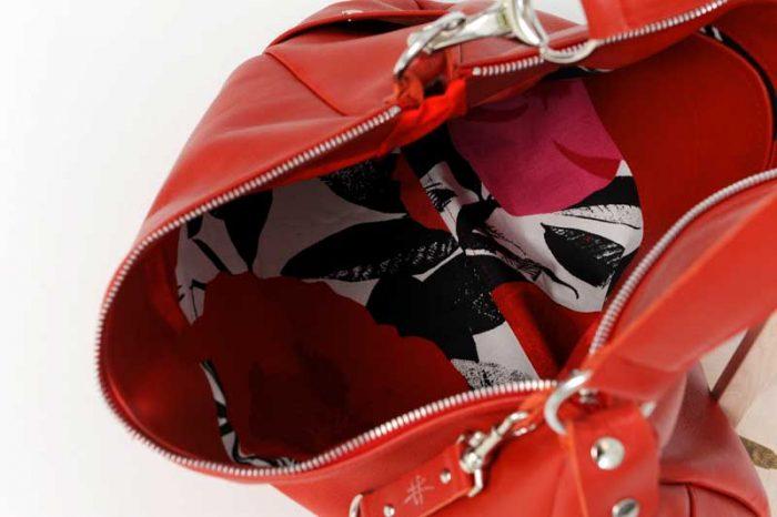 Sac cuir rouge - CANYON - Cuir et Création - Intérieur