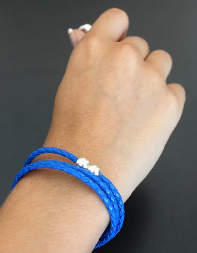 Bracelet tressé bleu - Cuir et Création