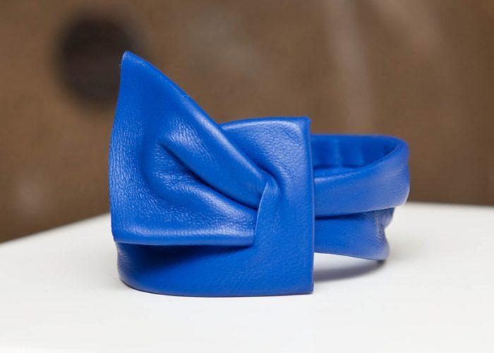 Bracelet drape bleu - Cuir et Création