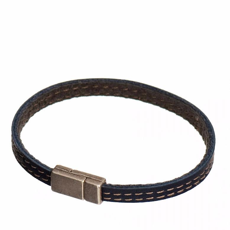 bijou cuir_Homme bracelet bande cuir double cuir et creation