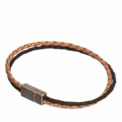 bijou cuir_Homme bracelet double tresse cuir et creation